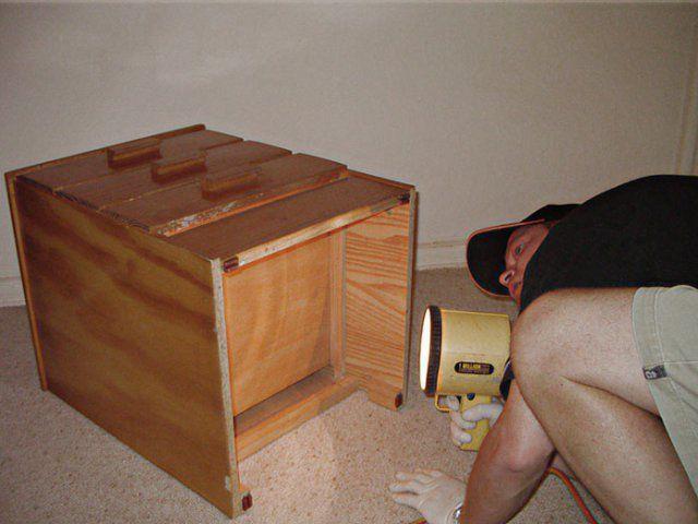 Тщательный осмотр мебели на наличие клопов