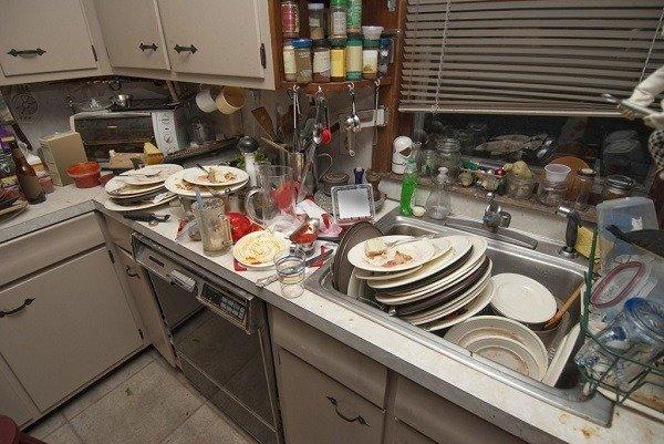 Немытая посуда и мусор на полу являются первым признаком того, что в квартире есть вредители
