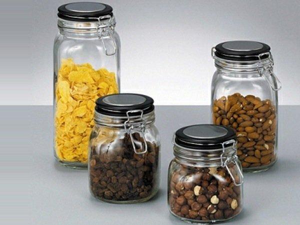 Стеклянные банки для хранения крупы, орешков и изюма