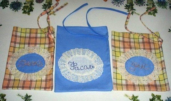 Тряпичные мешочки для хранения крупы