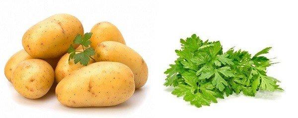 Сок сырого картофеля или петрушки уберет жжение и зуд
